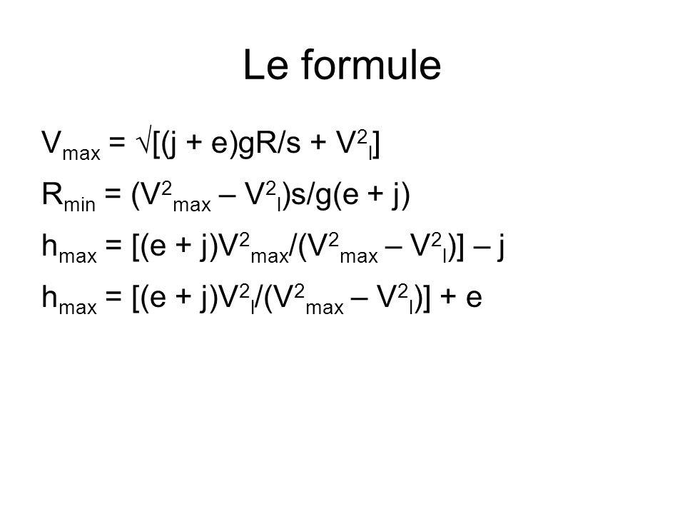 Le formule Vmax = √[(j + e)gR/s + V2l] Rmin = (V2max – V2l)s/g(e + j)